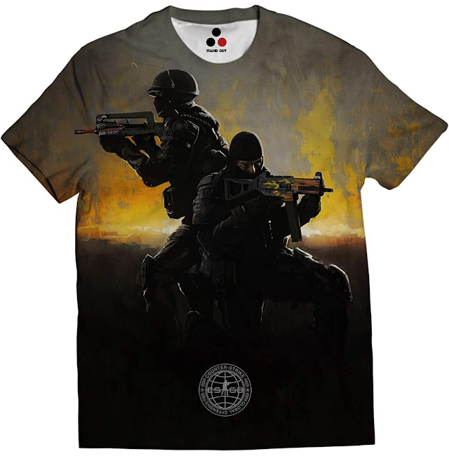 STAND OUT - Counter Strike Go T-Shirt | CSGO | Limited Edition | Indian Army | Allover Printed Unisex Gaming Black T-Shirt