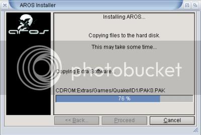 Quake being installed by InstallAROS
