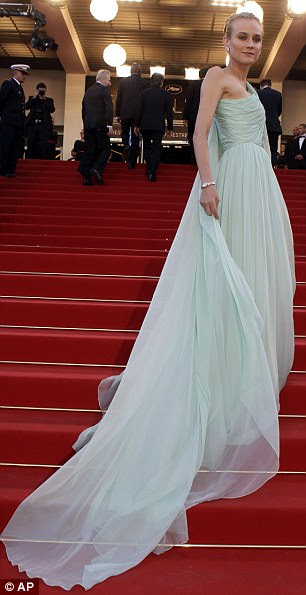 Mint imperial: Inglorious Basterds star Diane Kruger scales the heights in a billowing Giambattista Valli gown