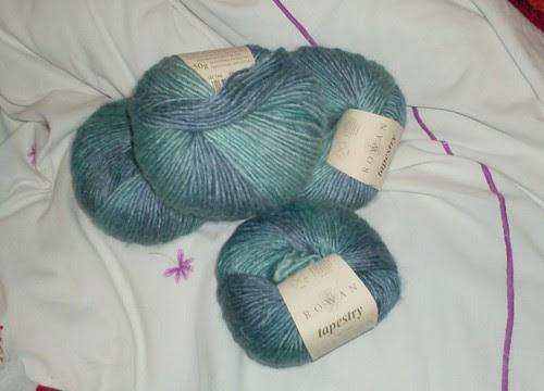 Blue turquoise Rowan Tapestry soysilk wool yarn