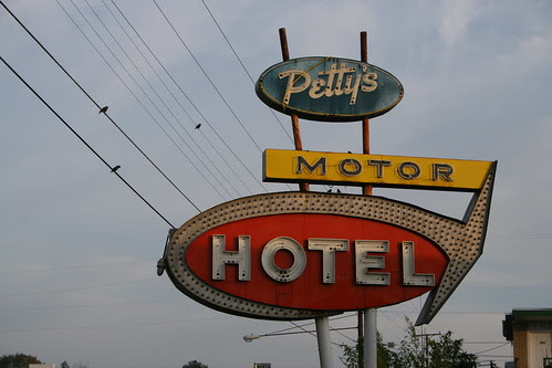 petty's motor hotel neon sign early morning