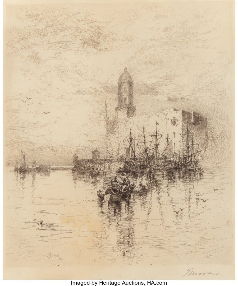 Fine Art - Work on Paper:Print, Thomas Sidney Moran (American, Late 19th Century). Vera CruzHarbor, Mexico, 1884. Etching. 11-1/4 x 9-5/8 inches (28.6 ...