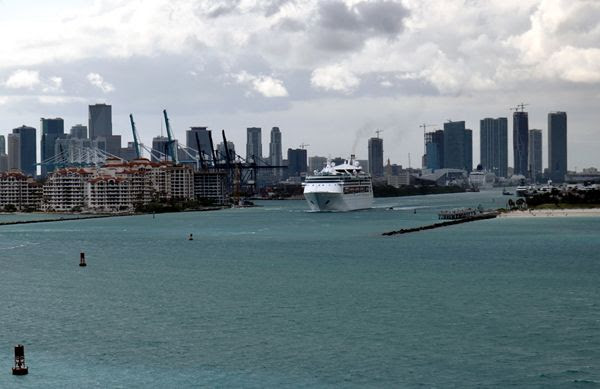A third snapshot of Miami—and another Norwegian Cruise Line ship—as seen from aboard the Norwegian Jade on March 12, 2018.