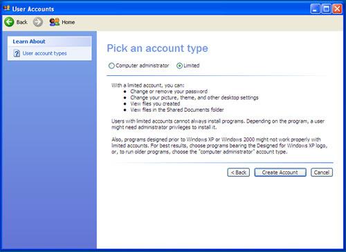Account utente dai diritti limitati