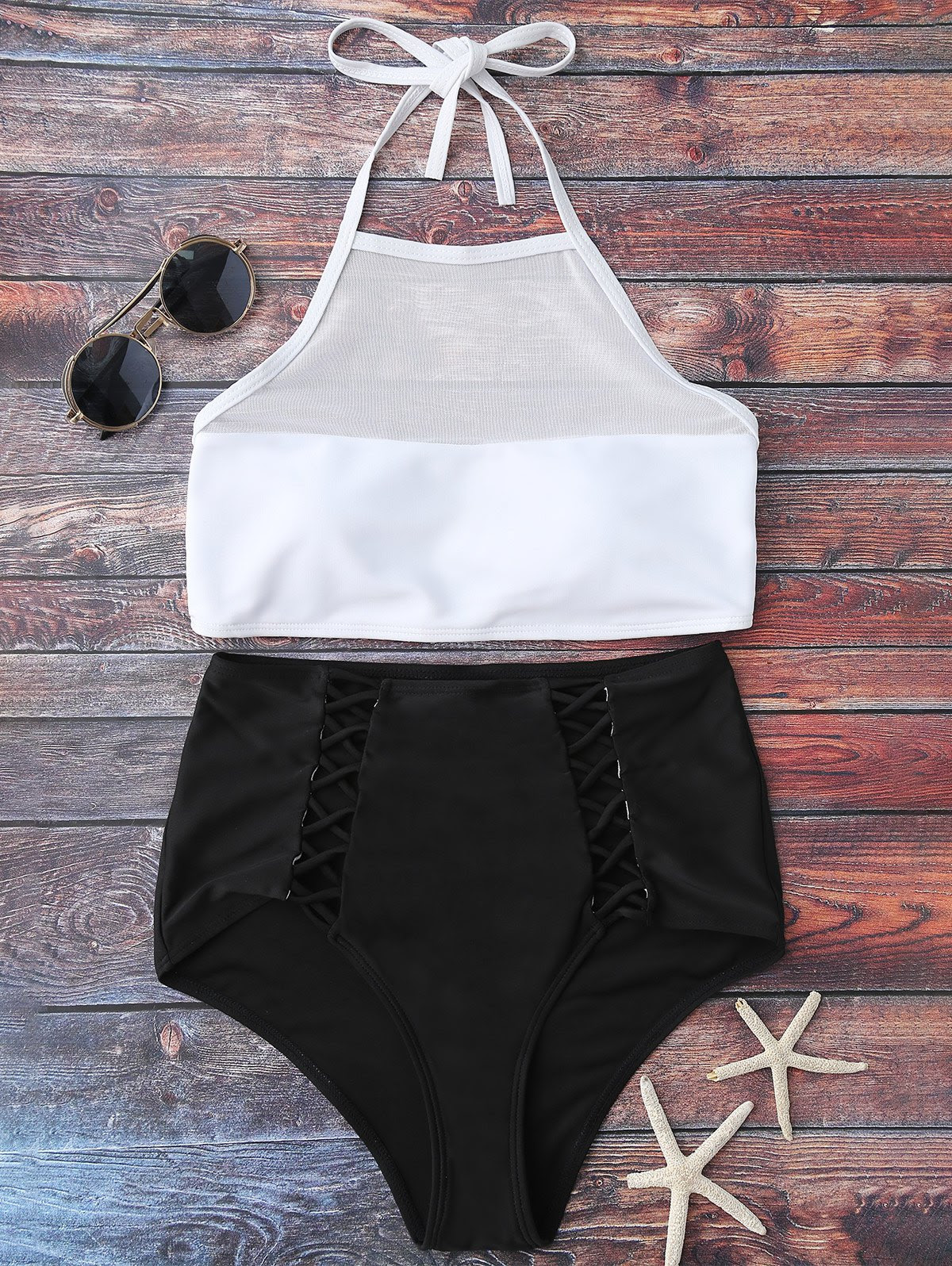 Halter Sheer High Waist Bikini Swimsuit