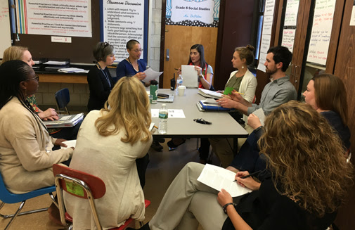 Eighth-grade teachers at the upper school hold their weekly cultural proficiency seminar.