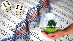 a pair of die, DNA and a hand holding a globe with a tree inside with sequencing in the background