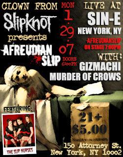 Clown from Slipknot hosting showcase at Sin-e