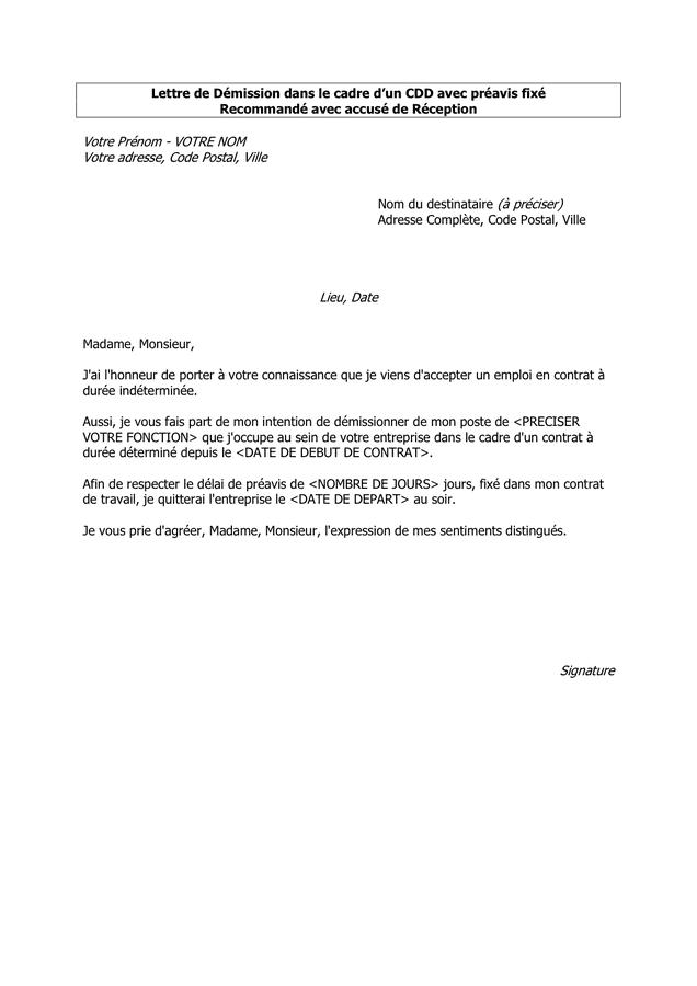lettre exemples: Exemple Lettre De Demission Dun Cdd