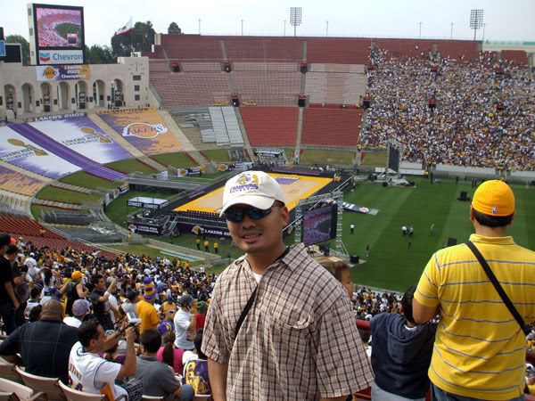 At the Lakers' 2009 championship rally in the Los Angeles Memorial Coliseum.