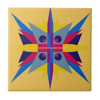 Ceramic Tile with Art Deco Star Yellow Background