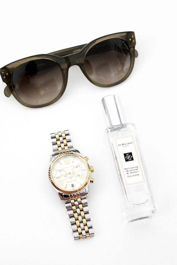 Le Fashion Blog Green Celine Cat Eye Sunglasses Michael Kors Two Tone Lexington Chronograph Watch Jo Malone Nectarine Blossom Honey Cologne By Jenn Camp
