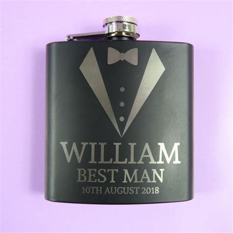 Best Man Personalised Engraved Hip Flask Wedding Thank you