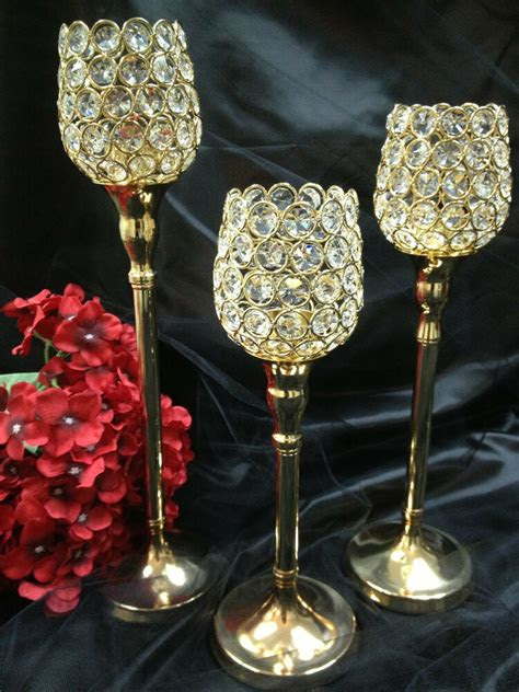 crystal gold wedding centerpieces pillar votive candle