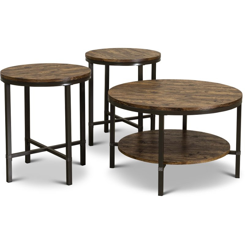 Rustic Round Coffee Table Set Sedona Rc Willey Furniture Store