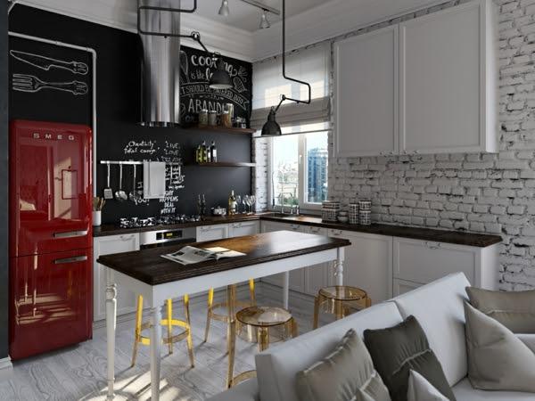 Retro Kühlschrank In Schwarz : Die küche mit retro kühlschrank ausstatten freshouse