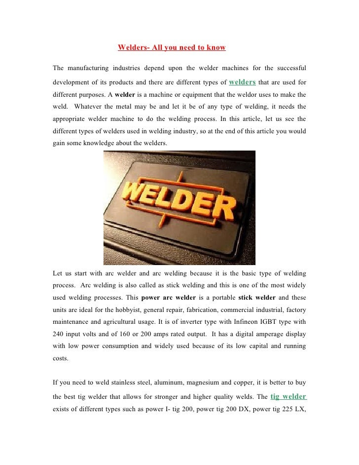 Welders all you need to know