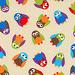 tecido importado: Owls - Taupe - IMP/25