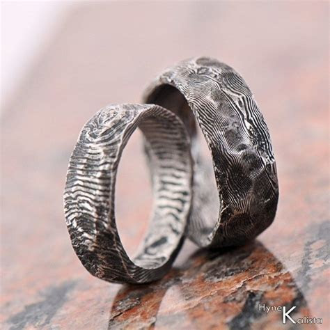 Wedding Ring Stainless Damascus steel Natura by KREDUM on
