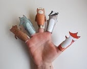 Forest Hand Drawn Paper Finger Puppets By Curmilla, Printable PDF,Fox,Owl,Bear,Badger and Wolf - Curmilla