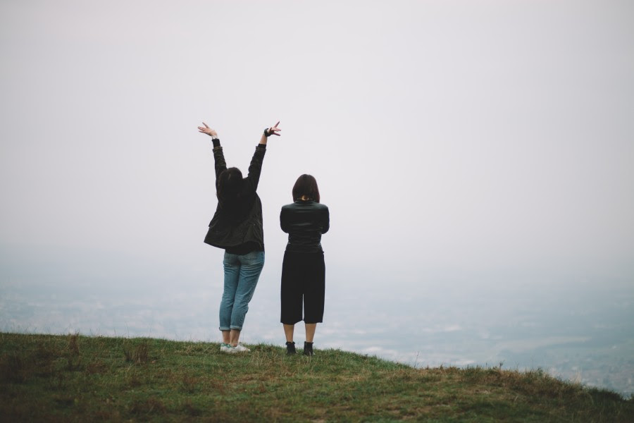 two, people, mountain, travel, travel, joy, arms, lifting, lifting, sign, happiness, freedom, concept,