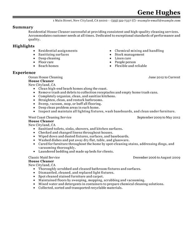 sample resume for janitorial