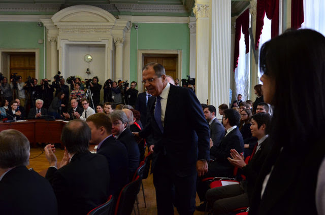 Lavrov - working the crowd on his arrival at the Club
