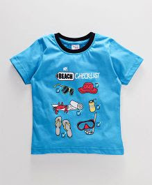 Taeko Half Sleeves T-Shirt Beach Checklist Print - Sky Blue
