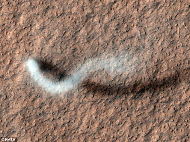 Spinning a dust devil in the thin air of Mars requires a stronger updraft than is needed to create a similar vortex on Earth, researchers claim. Pictured is a dust devil reaching above the plain of Mars' Amazonis Planitia
