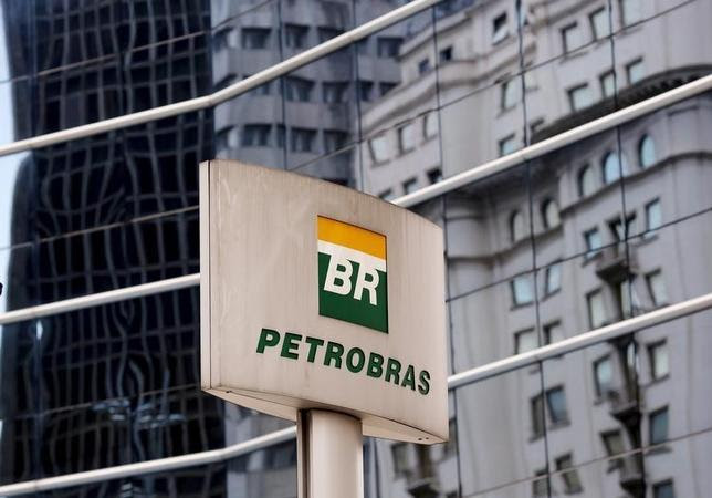 The Petrobras logo is seen in front of the company's headquarters in Sao Paulo April 23, 2015. REUTERS/Paulo Whitaker
