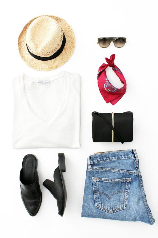 Le Fashion Blog LA Girl Summer Style Casual Outfit Straw Hat Celine Sunglasses White Tee Hermes Silk Neck Scarf Nina Ricci Mini Bag Vintage Jeans Tibi Denni Mule Loafers