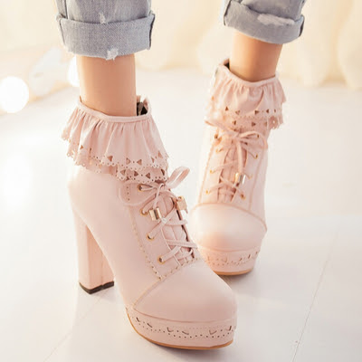 Japanese sweet lolita falbala high-heeled boots