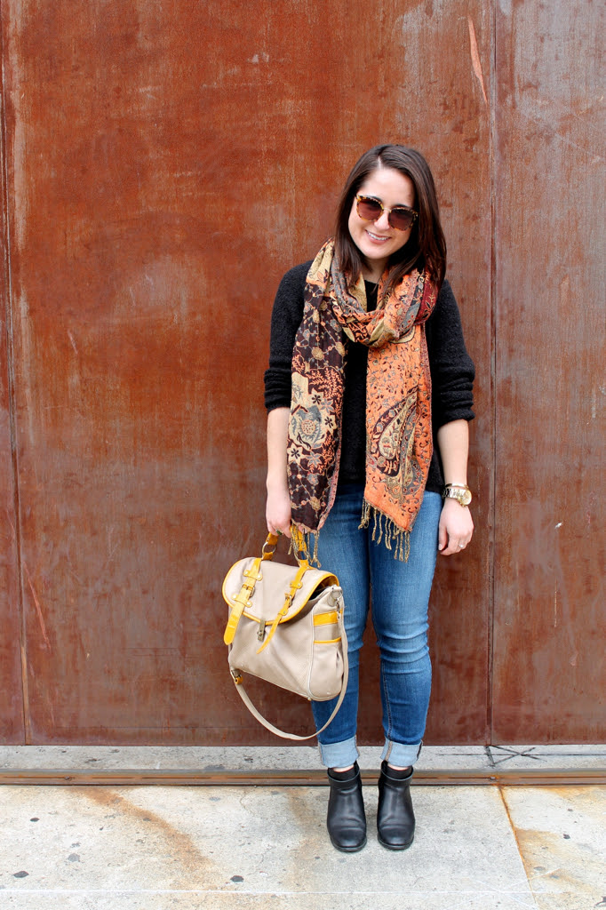printed scarf, slouchy sweater, skinny GUESS jeans, and Madewell ankle boots