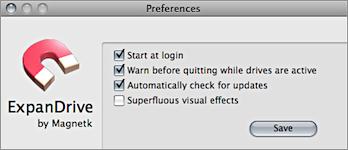 Screenshot of ExpanDrive's Preferences window.