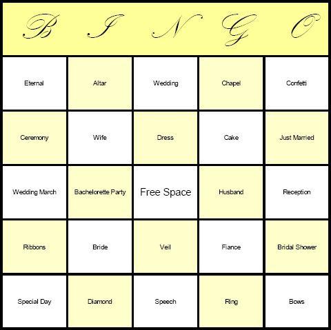 Wedding Bingo (not this is NOT the traditional bingo game that you ...
