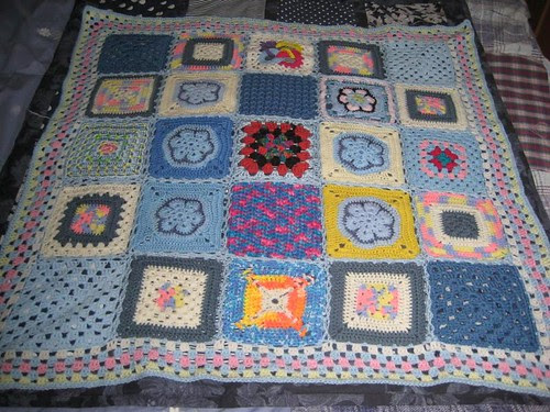 Ta - Dah! SIBOL 55. 'In proper Yorkshire Style!' A 'Sunshine Blanket' made up for me by 'lulabelle1967!' Thank you so much, it's gorgeous Louise! 'please add note!'.