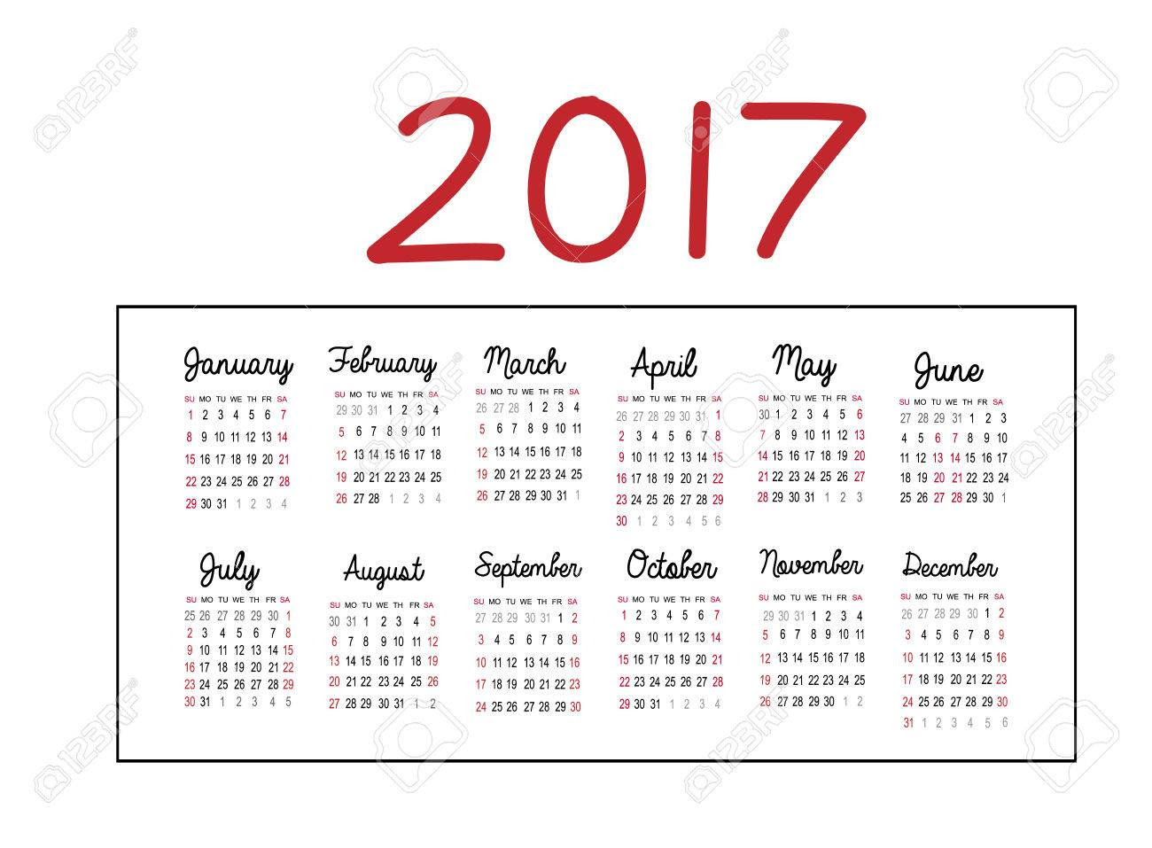 Calendar 2017 Isolated On White Background. Can Use For Business ...