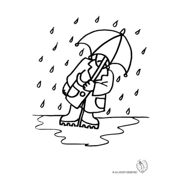 Disegno Di Uomo Sotto La Pioggia Da Colorare Per Bambini