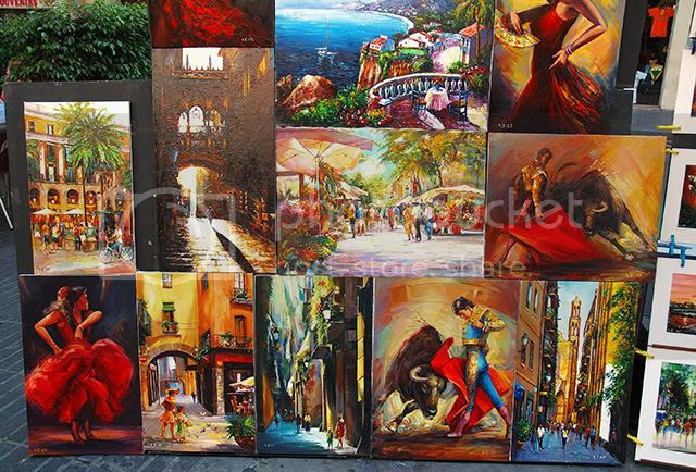 Spanish Paintings in Las Ramblas, Barcelona: Collage [enlarge]