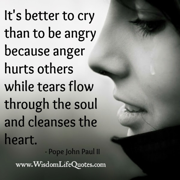 Its Better To Cry Than To Be Angry Wisdom Life Quotes