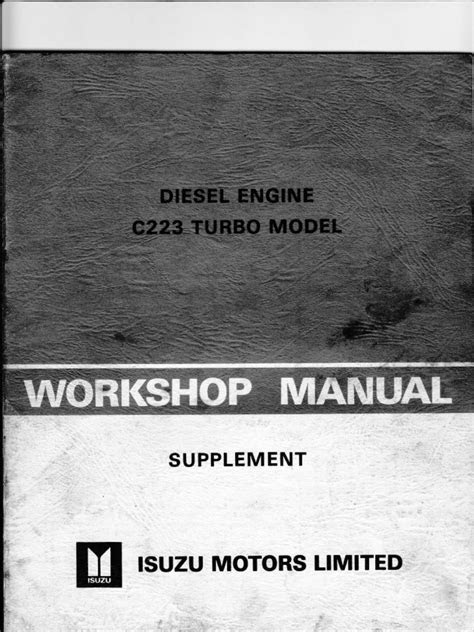 ISUZU C223 Turbo W Shop Manual