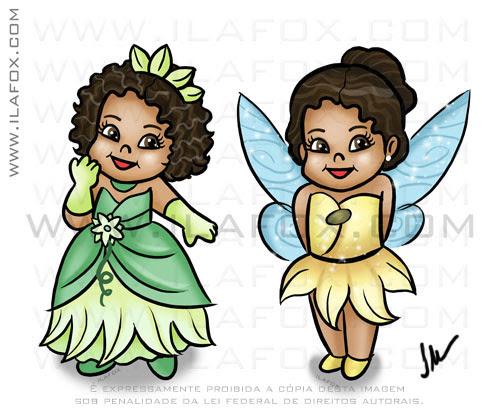 caricatura fofinha, menina fadinha, desenho criança negra, menina negra, roupinha sininho, roupinha princesa e o sapo, by ila fox