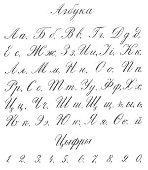 English: Russian Cyrillic handwriting sample f...