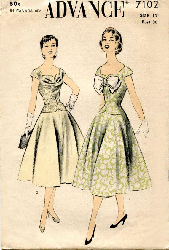 1950s Vintage Dress Pattern Advance 7102 Sewing Pattern by FloradoraPresents