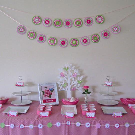 Sweet Tweet Bird Birthday Party Printable Collection Pink Green