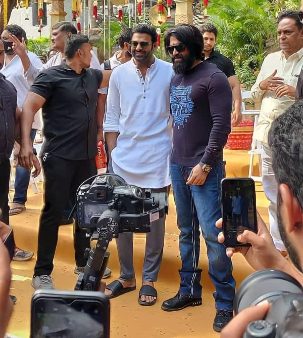 #SalaarSagaBegins: Prabhas and Yash pose together at the Puja ceremony and we cannot keep calm