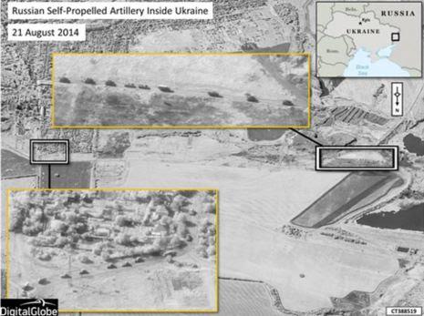 Ρωσικές μονάδες κινούνται σε φάλαγγα με άρματα πυροβολικού στην περιοχή του  Krasnodon που ελέγχεται από αυτονομιστές. Ημερομηνία  21 /08/14 .Πρόκειται για ρωσικά στρατεύματα αφού τα ουκρανικά δεν έχουν ακόμα φθάσει στην περιοχή