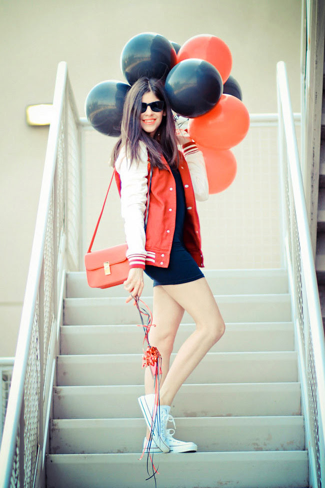 American Apparel Double-U Neck Mini Dress, Varsity Jacket, Asos, Chuck Taylor Converse, Fashion Outfit