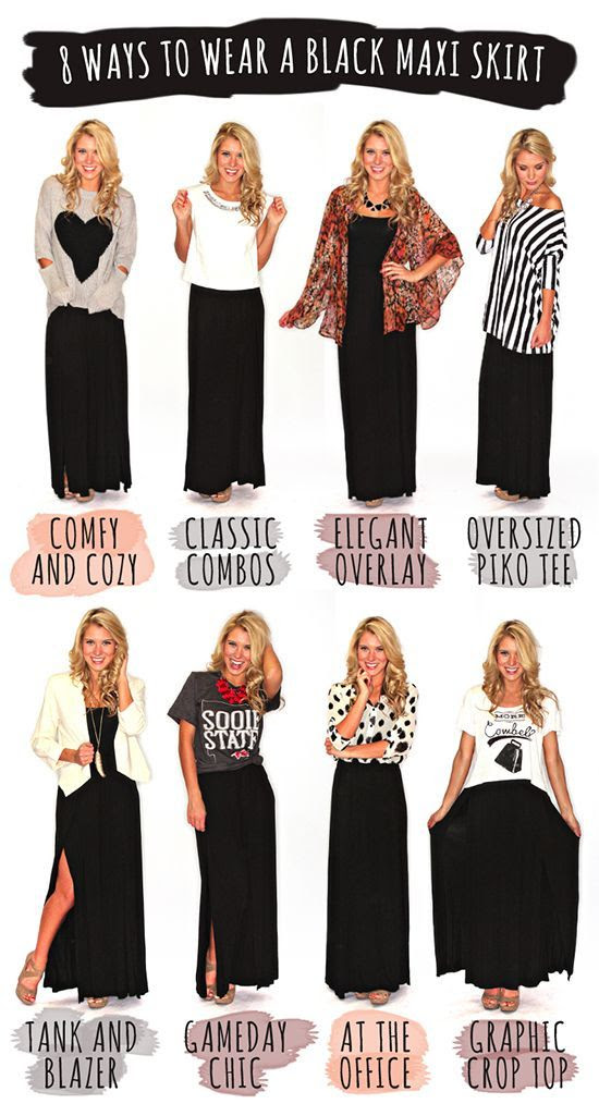 How to wear a black maxi skirt.  elfsacks