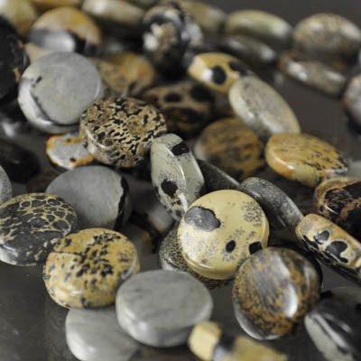 s23620 Stone Beads - 12 mm Coin - Artistic Jasper (strand)